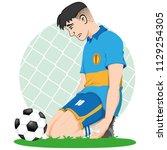 illustration of sad caucasian... | Shutterstock .eps vector #1129254305