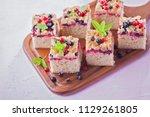 tasty summer fruits yeast cake  ... | Shutterstock . vector #1129261805