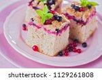 tasty summer fruits yeast cake  ... | Shutterstock . vector #1129261808