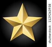 realistic golden star on black... | Shutterstock . vector #1129263938