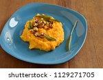 corn porridge   polenta   with... | Shutterstock . vector #1129271705