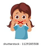 censorship. little girl with a... | Shutterstock .eps vector #1129285508