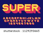 geometric super font 3d effect... | Shutterstock .eps vector #1129293665