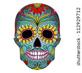 day of the dead colorful skull... | Shutterstock .eps vector #112929712