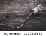 retro incandescent lamp with... | Shutterstock . vector #1129315652