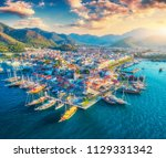 aerial view of boats and yachts ... | Shutterstock . vector #1129331342
