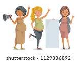 pregnant women group. three...   Shutterstock .eps vector #1129336892