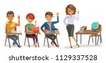 students with teachers in... | Shutterstock .eps vector #1129337528