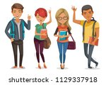 students group smiling and... | Shutterstock .eps vector #1129337918