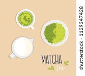 a cup of green matcha tea with... | Shutterstock .eps vector #1129347428