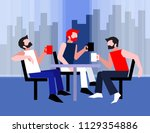 coffee time for friends. three... | Shutterstock .eps vector #1129354886