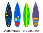 modern surfboards in a flat... | Shutterstock .eps vector #1129360556