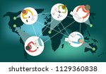 distance learning or working... | Shutterstock .eps vector #1129360838