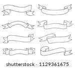 set od hand drawn doodle ribbon ... | Shutterstock .eps vector #1129361675