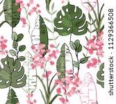blooming  flowers. realistic... | Shutterstock .eps vector #1129366508