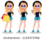 hipster woman  beautiful young... | Shutterstock .eps vector #1129371968
