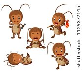 collection of funny cockroach... | Shutterstock . vector #1129372145