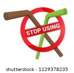stop using plastic straws... | Shutterstock .eps vector #1129378235