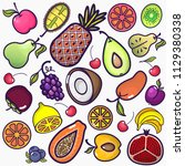 set of colorful fruit icons... | Shutterstock .eps vector #1129380338