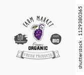 grapes bio sticker and eco... | Shutterstock .eps vector #1129380365