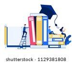people use laptop  smartphone... | Shutterstock .eps vector #1129381808