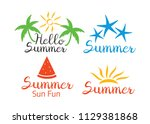 summer camp badge  sticker and... | Shutterstock .eps vector #1129381868