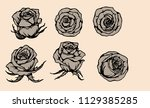 rose vector lace by hand... | Shutterstock .eps vector #1129385285