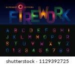 vector of firework alphabet... | Shutterstock .eps vector #1129392725