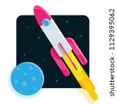 flat cartoon rocket launch | Shutterstock .eps vector #1129395062