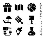 set of 9 other filled icons...   Shutterstock .eps vector #1129416992