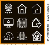 set of 9 home outline icons...   Shutterstock .eps vector #1129420016