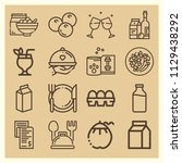 set of 16 food outline icons...   Shutterstock .eps vector #1129438292