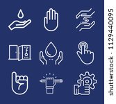 set of 9 hand outline icons... | Shutterstock .eps vector #1129440095