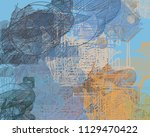abstract painting on canvas.... | Shutterstock . vector #1129470422