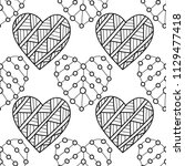 decorative hearts. black and... | Shutterstock .eps vector #1129477418