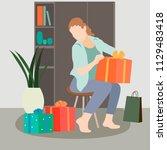set of shopping woman vector... | Shutterstock .eps vector #1129483418
