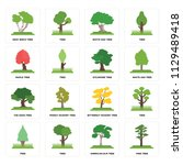 set of 16 icons such as pine...