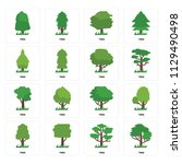 set of 16 icons such as tree ... | Shutterstock .eps vector #1129490498