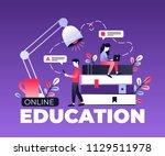 flat vector characters working... | Shutterstock .eps vector #1129511978