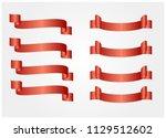 red glossy ribbon vector...   Shutterstock .eps vector #1129512602