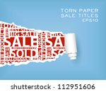 blue torn paper with red sale... | Shutterstock .eps vector #112951606