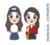 cute girl set doodle. hand...   Shutterstock .eps vector #1129533578