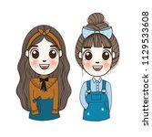 cute girl set doodle. hand...   Shutterstock .eps vector #1129533608