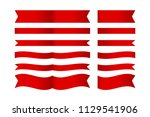 set of red ribbon isolated on... | Shutterstock .eps vector #1129541906