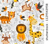 seamless pattern with coloring  ... | Shutterstock .eps vector #1129543958