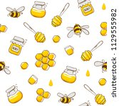 cute seamless pattern with... | Shutterstock .eps vector #1129555982