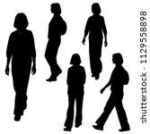 vector silhouettes women... | Shutterstock .eps vector #1129558898