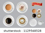 coffee top view. mugs with... | Shutterstock .eps vector #1129568528