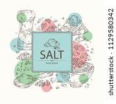 background with salt  spoon... | Shutterstock .eps vector #1129580342