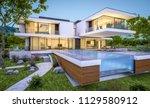 3d rendering of modern cozy... | Shutterstock . vector #1129580912